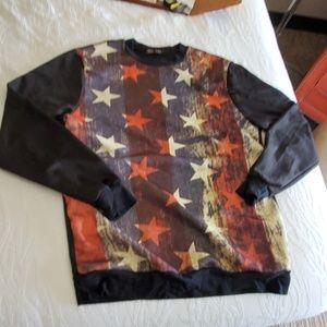 men's sz l crank pullover l/s American flag shirt